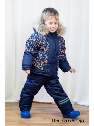 Комплект для мальчика демисезонный, синий/принт скобы, р. 26 (рост 92-98), MODUS Kids