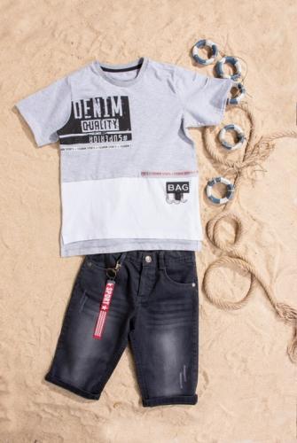 Костюм шорты с футболкой для мальчика, размер 8 лет, серый, Bebus