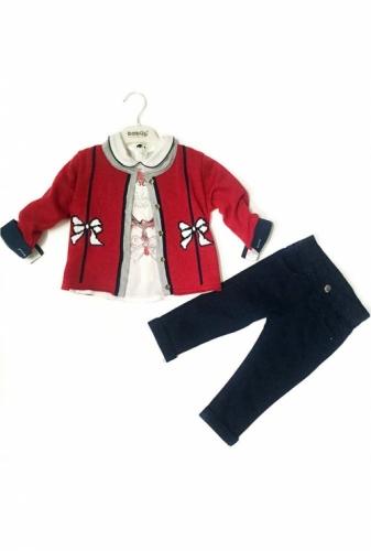 Комплект 3 предмета для девочки, размер 36 месяцев, красный/темно-синий, Bebus