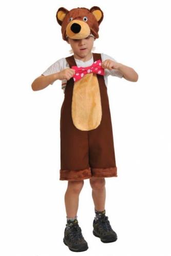 Карнавальный костюм Медведь цирковой ткань-плюш (полукомбинезон, маска) 3-6 лет