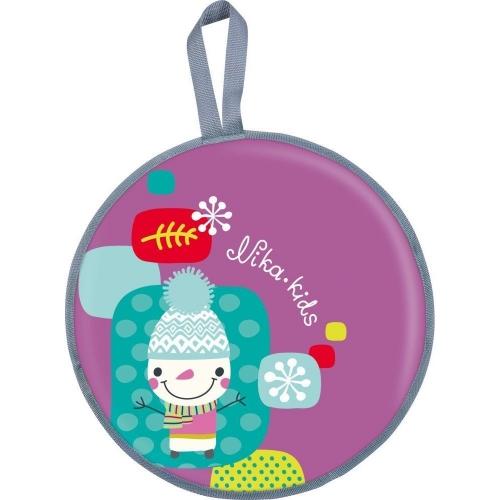 Ледянка Nika мягкая, диаметр 45 см рисунок Коллаж-Снеговик, цвет фиолетовый