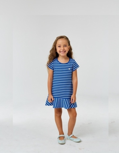 Платье для девочки р.98, бело-синее в полоску UMKA