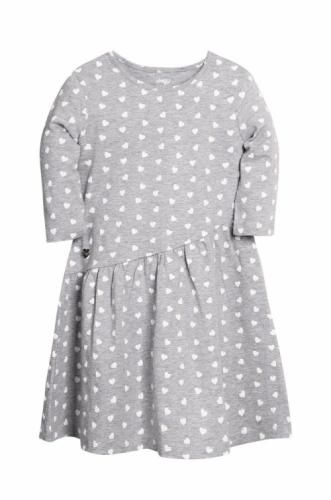 Платье для девочки р.140, серый меланж с сердечками UMKA