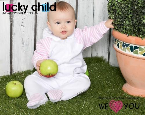 Комбинезон Lucky Child ПОЛОСКИ с капюшоном на молнии (арт. 4-13 бело-розовый),размер 20 (62-68)