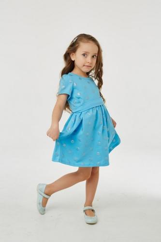 Платье для девочки р.116, голубое в горошек UMKA