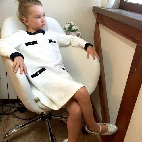 Платье для девочки с длинным рукавом Bon&Bon, молочное, 3-12 лет