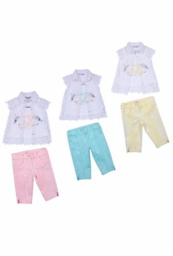 Комплект блузка и бриджи для девочки, размер 4 года, светло-желтый, KTS