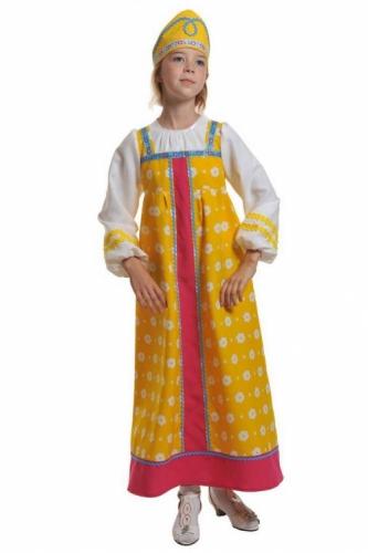 Карнавальный костюм Алёнушка в жёлтом (сарафан, кокошник) 7-9 лет