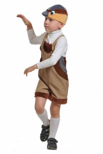 Карнавальный костюм Воробей ткань-плюш (полукомбинезон, маска) 3-6 лет