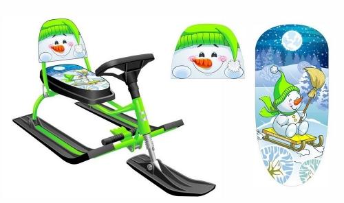 Снегокат Барс SNOWKAT Comfort Снеговик со складной спинкой, зеленая рама - 130