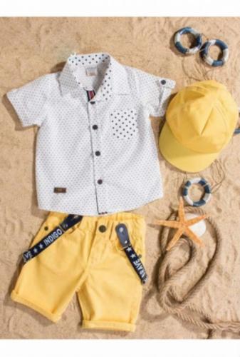 Комплект Bebus белый/желтый с головным убором, размер 12 месяцев