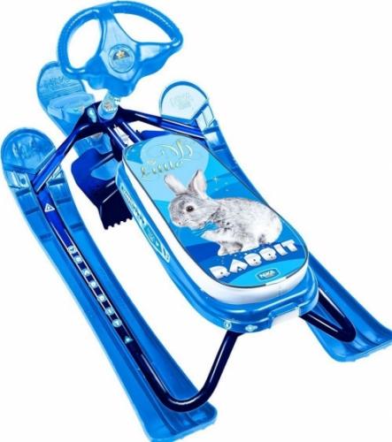 Снегокат Nika - Кросс, с кроликом, синяя рама - СНК