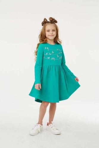 Платье для девочки размер 128, Птички на проводе Изумруд, УМКА