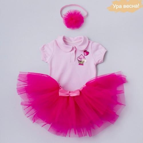 Комплект для девочки Малина демисезонный Крошкин дом р.26 (рост 80-86 см), темно-розовый