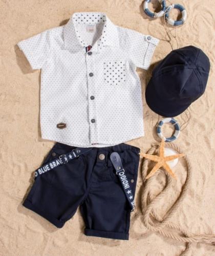 Костюм для мальчика, размер 18 месяцев, темно-синий/белый, Bebus