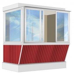 Остекление балкона Алюминиевое Provedal с выносом и отделкой вагонкой без утепления 2.4 м Г-образное