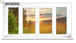 Окно раздвижное Rehau 2100X3000 четырехстворчатое 1 стеклопакет