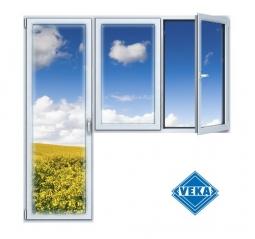 Балконный блок ПВХ Veka 2100х2100 мм 2-ЛГ-ППО 2 стеклопакет