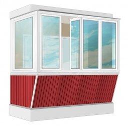 Остекление балкона ПВХ Veka с выносом и отделкой вагонкой без утепления 2.4 м Г-образное