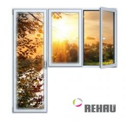 Балконный блок ПВХ Rehau 2100х2100 мм 2-ЛГ-ППО 3 стеклопакет